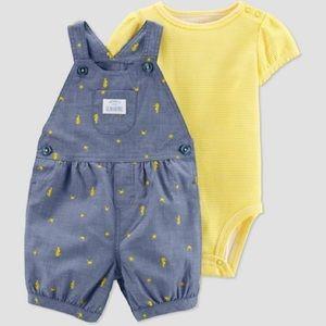 NWT Carter's shortalls outfit